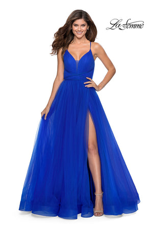 La Femme 28893 prom dress images.  La Femme 28893 is available in these colors: Neon Pink, Pale Yellow, Red, Royal Blue.