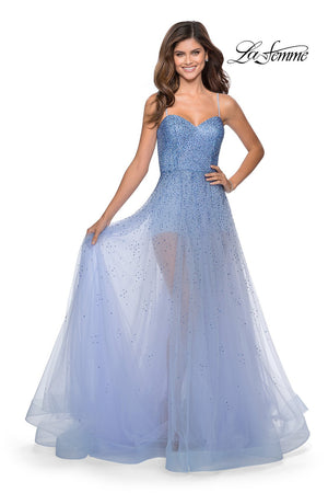 La Femme 28902 prom dress images.  La Femme 28902 is available in these colors: Lilac Mist, Mint, Nude.