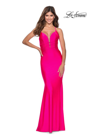 La Femme 28905 prom dress images.  La Femme 28905 is available in these colors: Neon Pink, Neon Yellow.