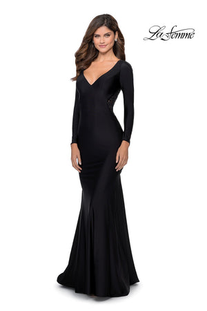 La Femme 28906 prom dress images.  La Femme 28906 is available in these colors: Black.