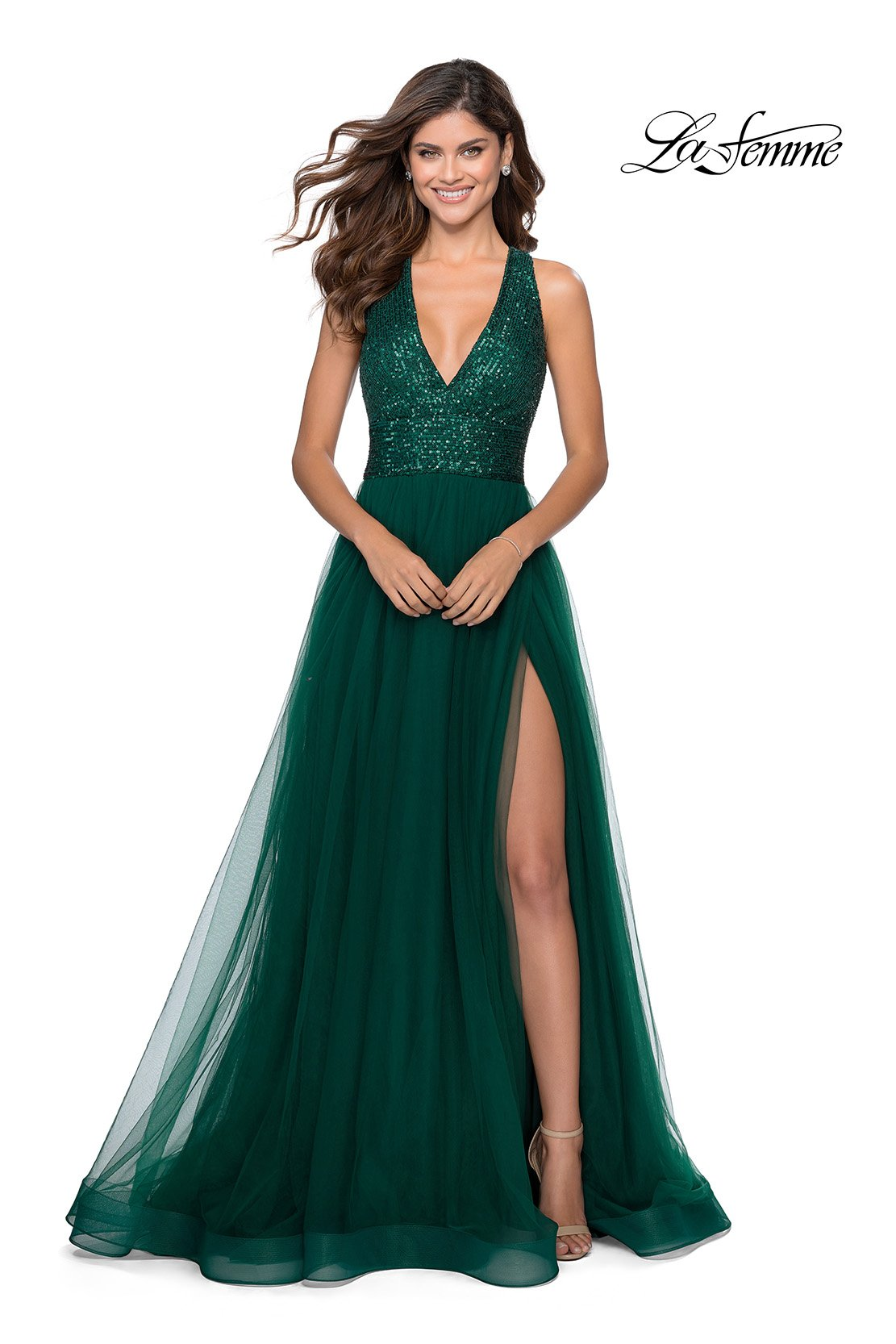 La Femme 28908 prom dress images.  La Femme 28908 is available in these colors: Emerald, Red, Royal Blue.
