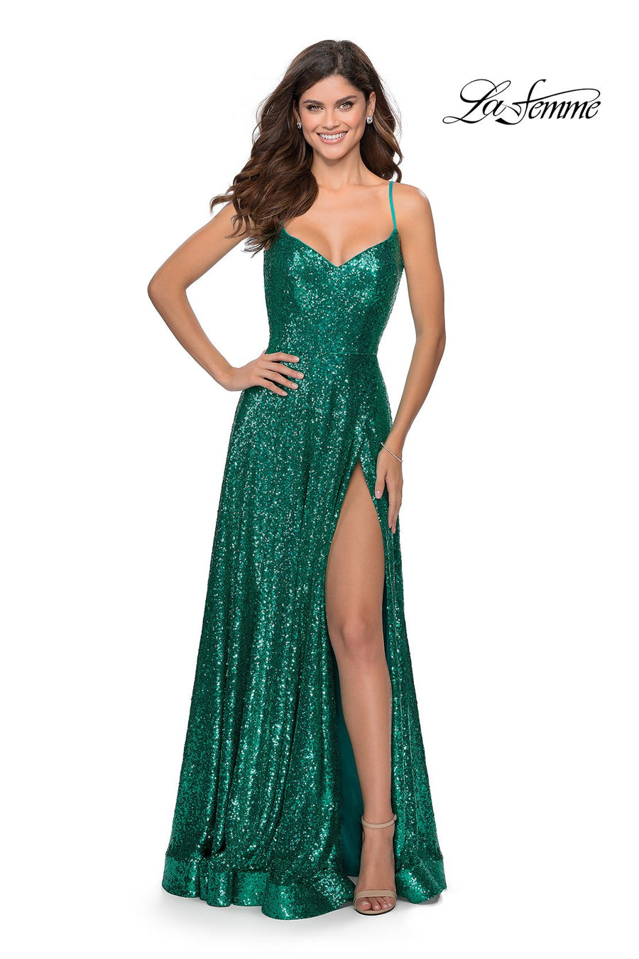 La Femme 28909 prom dress images.  La Femme 28909 is available in these colors: Emerald, Red, Royal Blue.