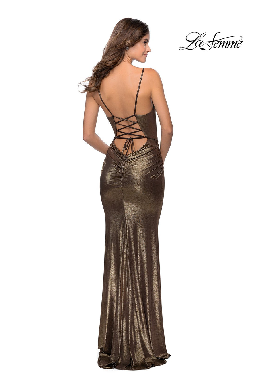 La Femme 28913 prom dress images.  La Femme 28913 is available in these colors: Black Gold.