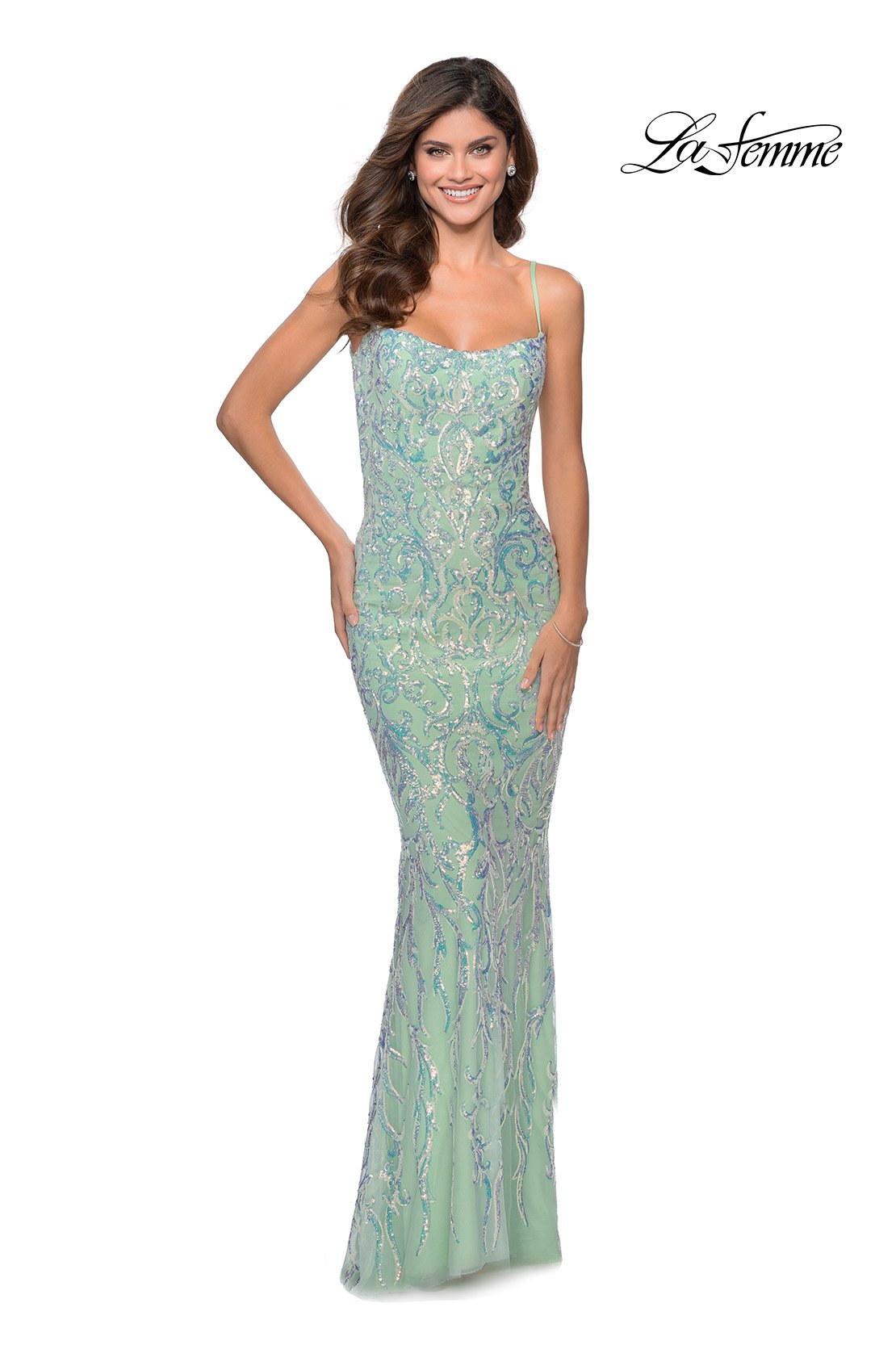 La Femme 28918 prom dress images.  La Femme 28918 is available in these colors: Mint.