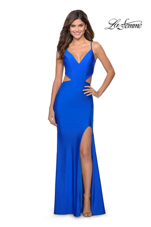 La Femme 28930 prom dress images.  La Femme 28930 is available in these colors: Red, Royal Blue.