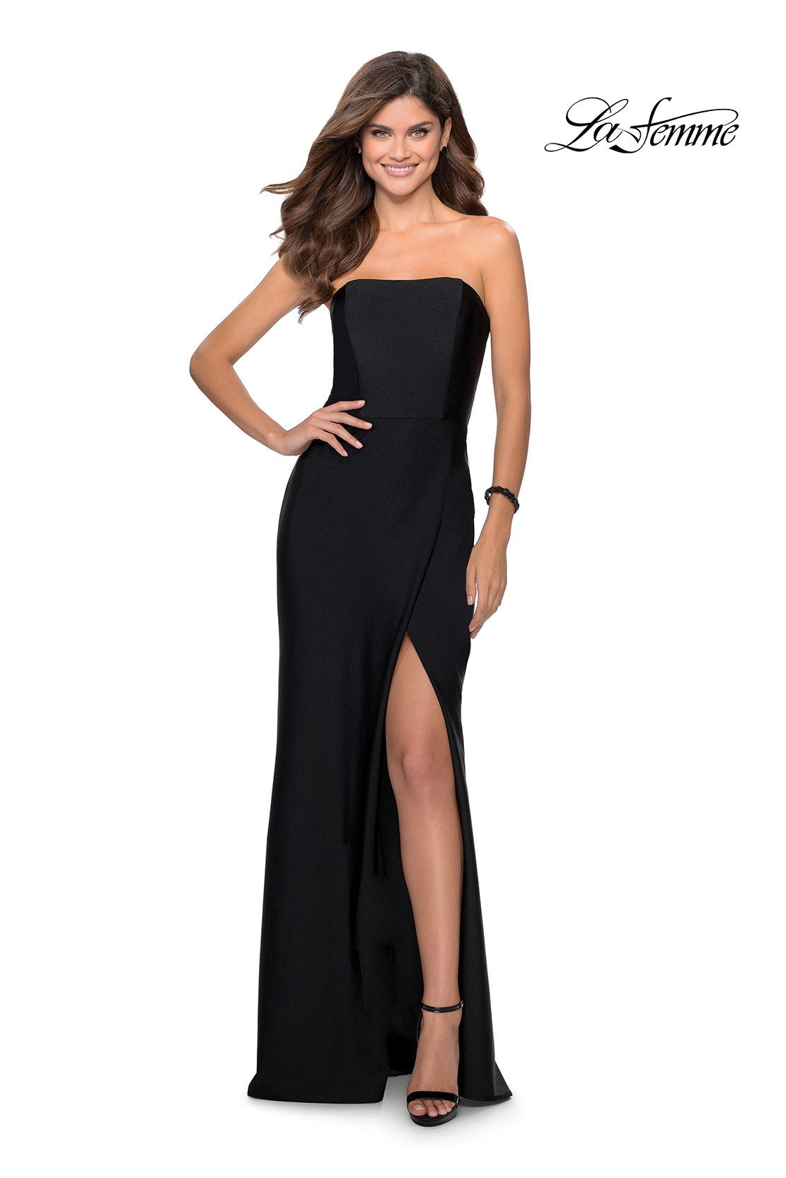 La Femme 28944 prom dress images.  La Femme 28944 is available in these colors: Black, Neon Coral.