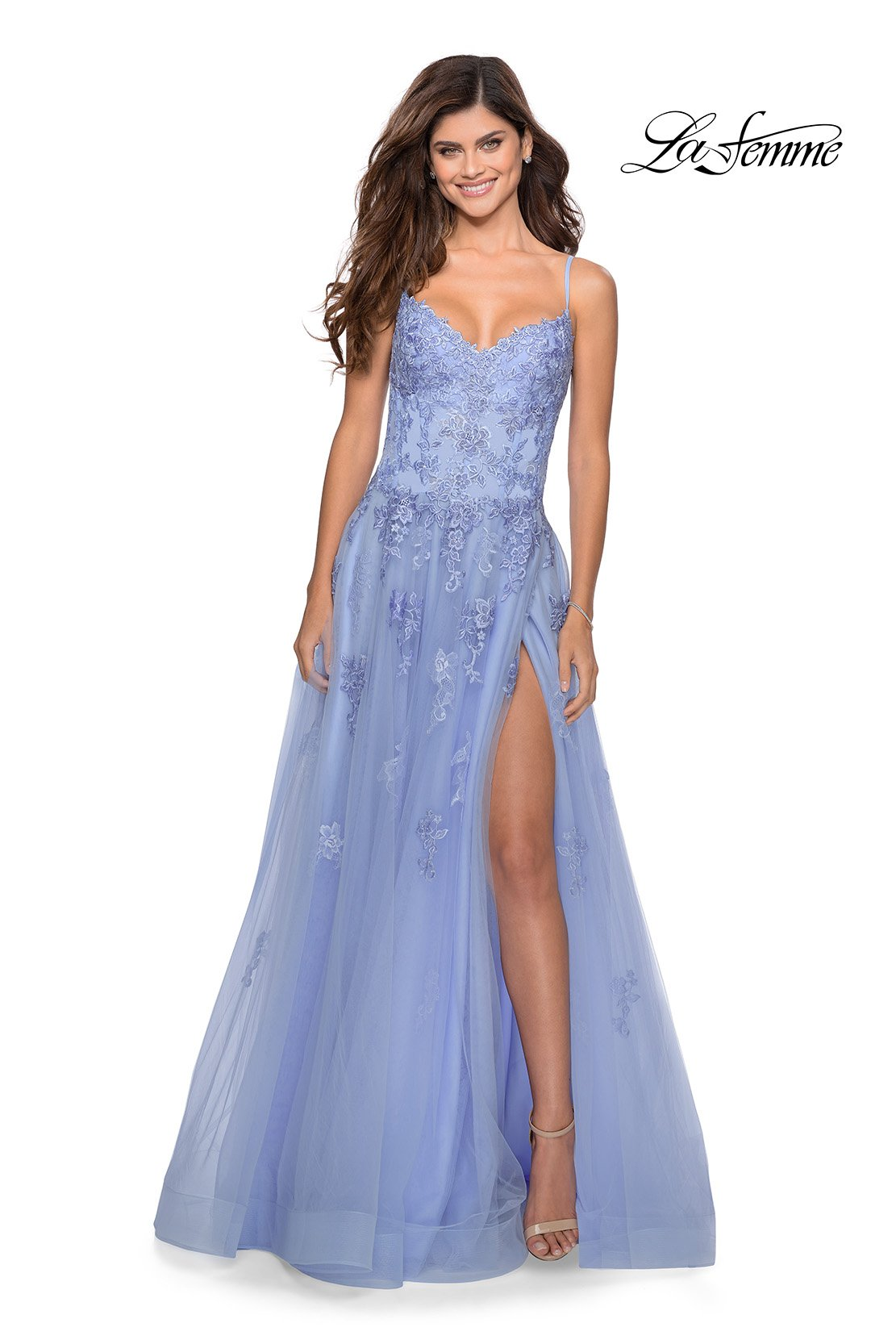 La Femme 28952 prom dress images.  La Femme 28952 is available in these colors: Lilac Mist, Pale Yellow.