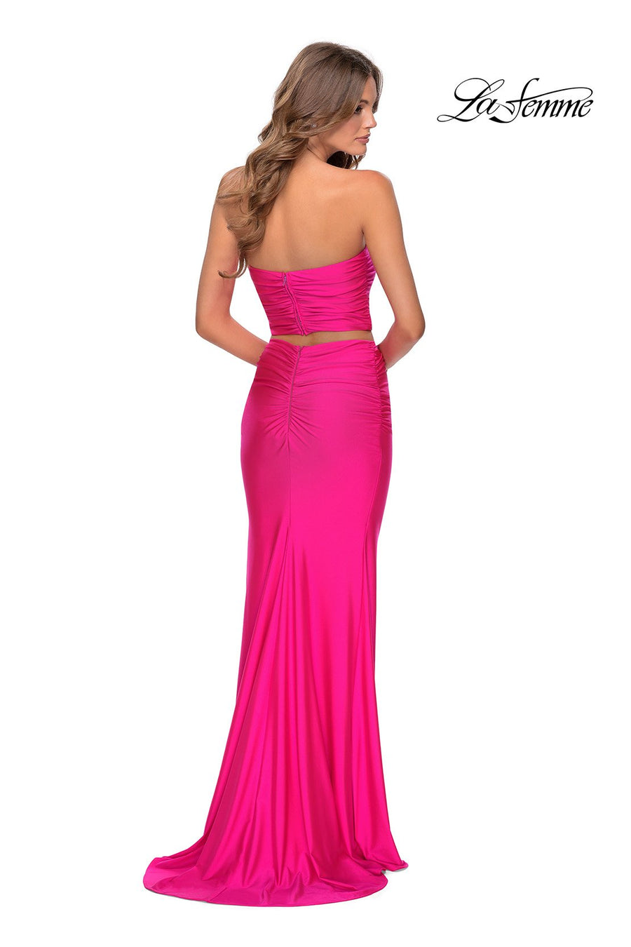 La Femme 28972 prom dress images.  La Femme 28972 is available in these colors: Neon Green, Neon Pink, Neon Yellow.