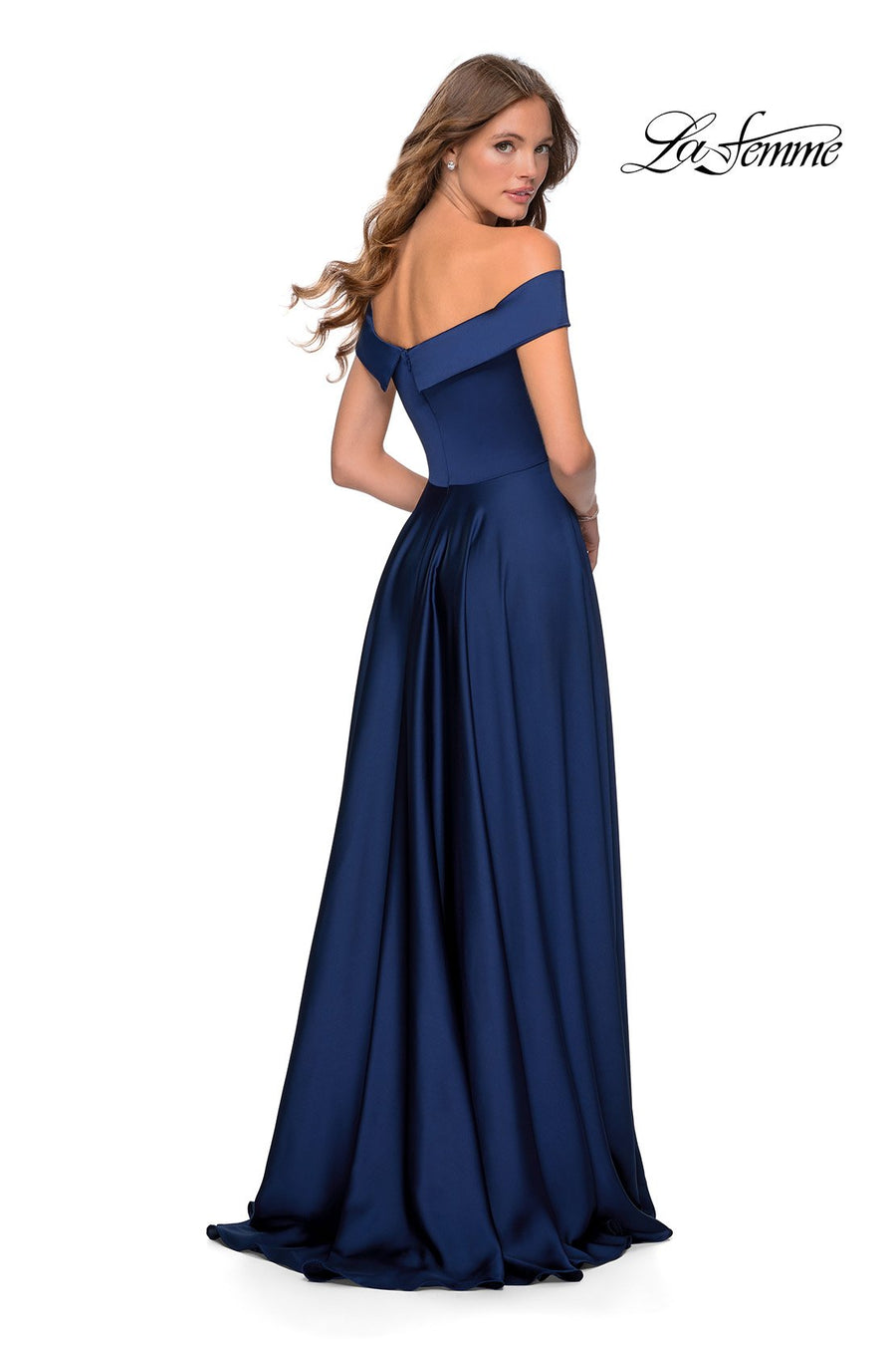 La Femme 28978 prom dress images.  La Femme 28978 is available in these colors: Black, Emerald, Navy, Wine.