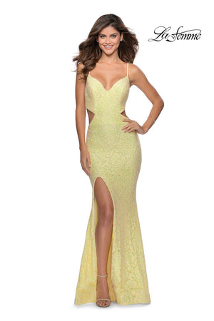 La Femme 28983 prom dress images.  La Femme 28983 is available in these colors: Mint, Pale Yellow, Peach.