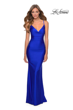 La Femme 28984 prom dress images.  La Femme 28984 is available in these colors: Black, Red, Royal Blue.