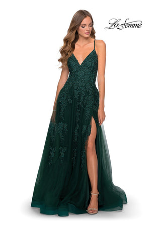 La Femme 28985 prom dress images.  La Femme 28985 is available in these colors: Dark Emerald, Red, Royal Blue.