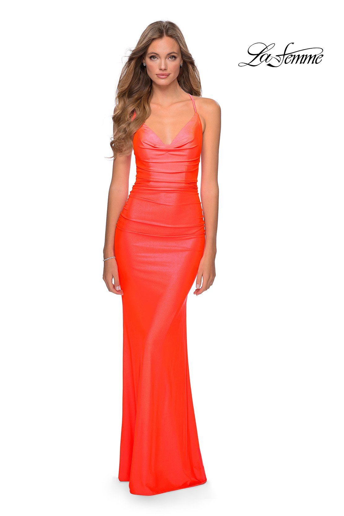 La Femme 29010 prom dress images.  La Femme 29010 is available in these colors: Neon Coral, Neon Pink, Neon Yellow.