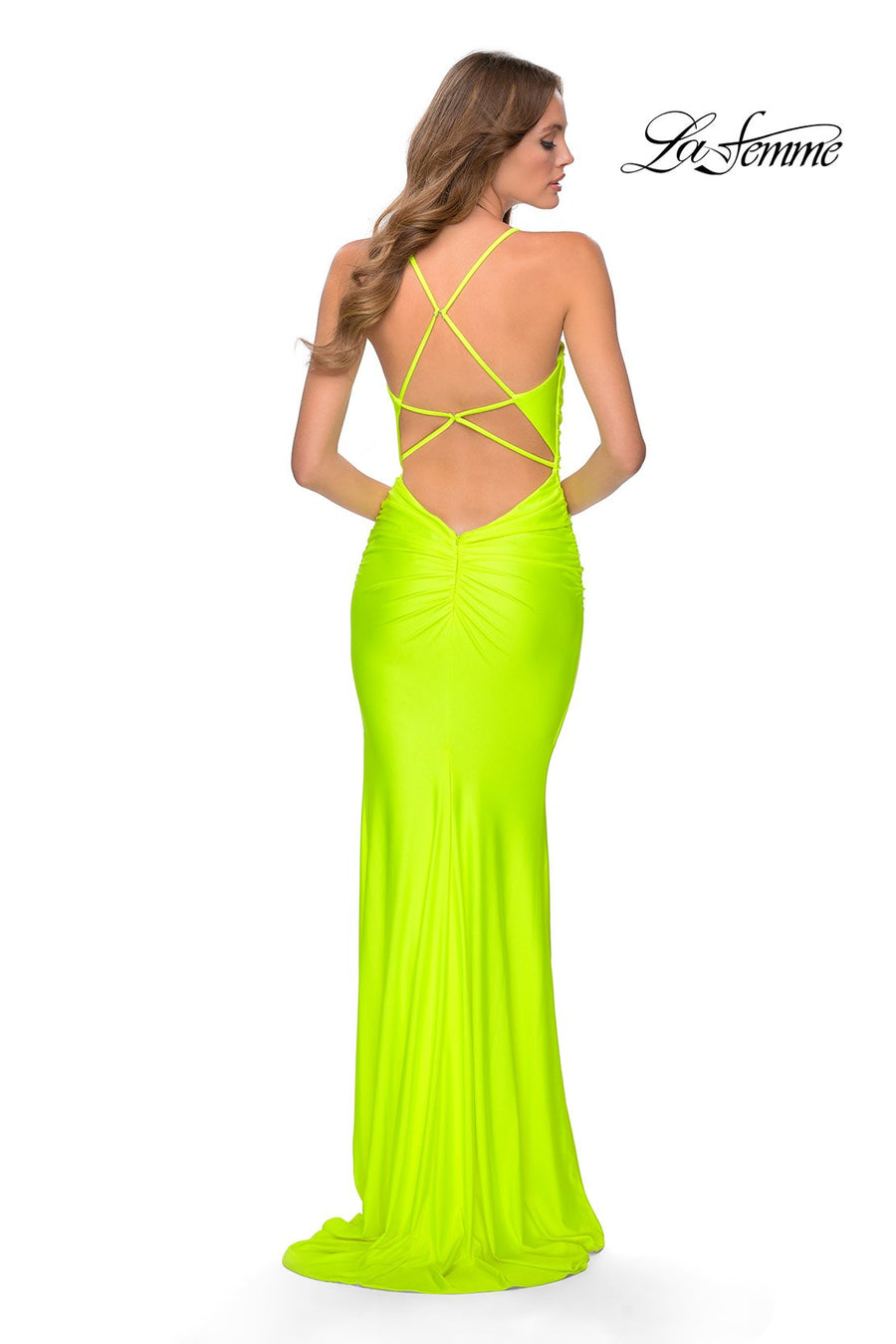 La Femme 29020 prom dress images.  La Femme 29020 is available in these colors: Neon Coral, Neon Pink, Neon Yellow.