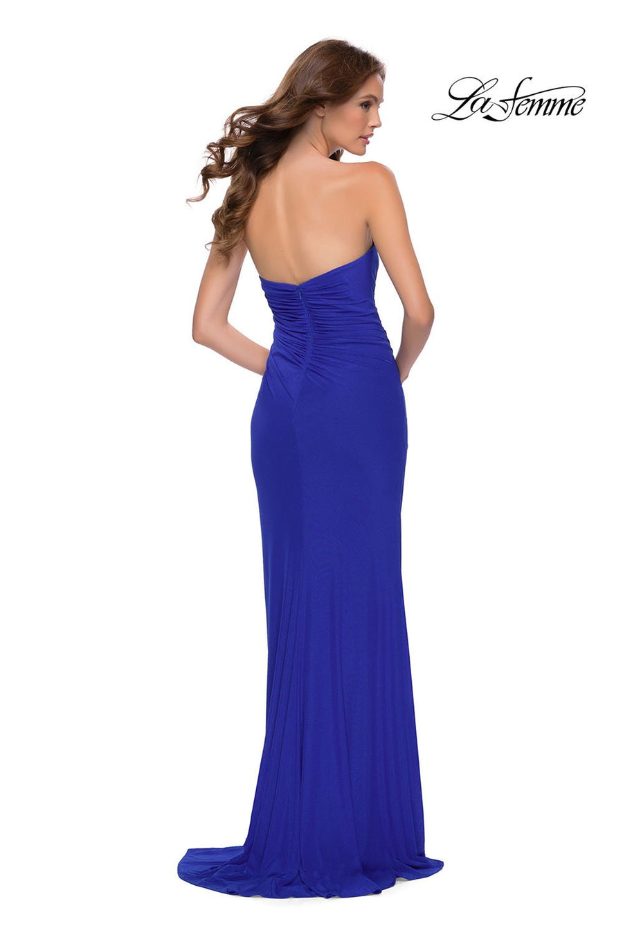 La Femme 29489 prom dress images.  La Femme 29489 is available in these colors: Black, Royal Blue.
