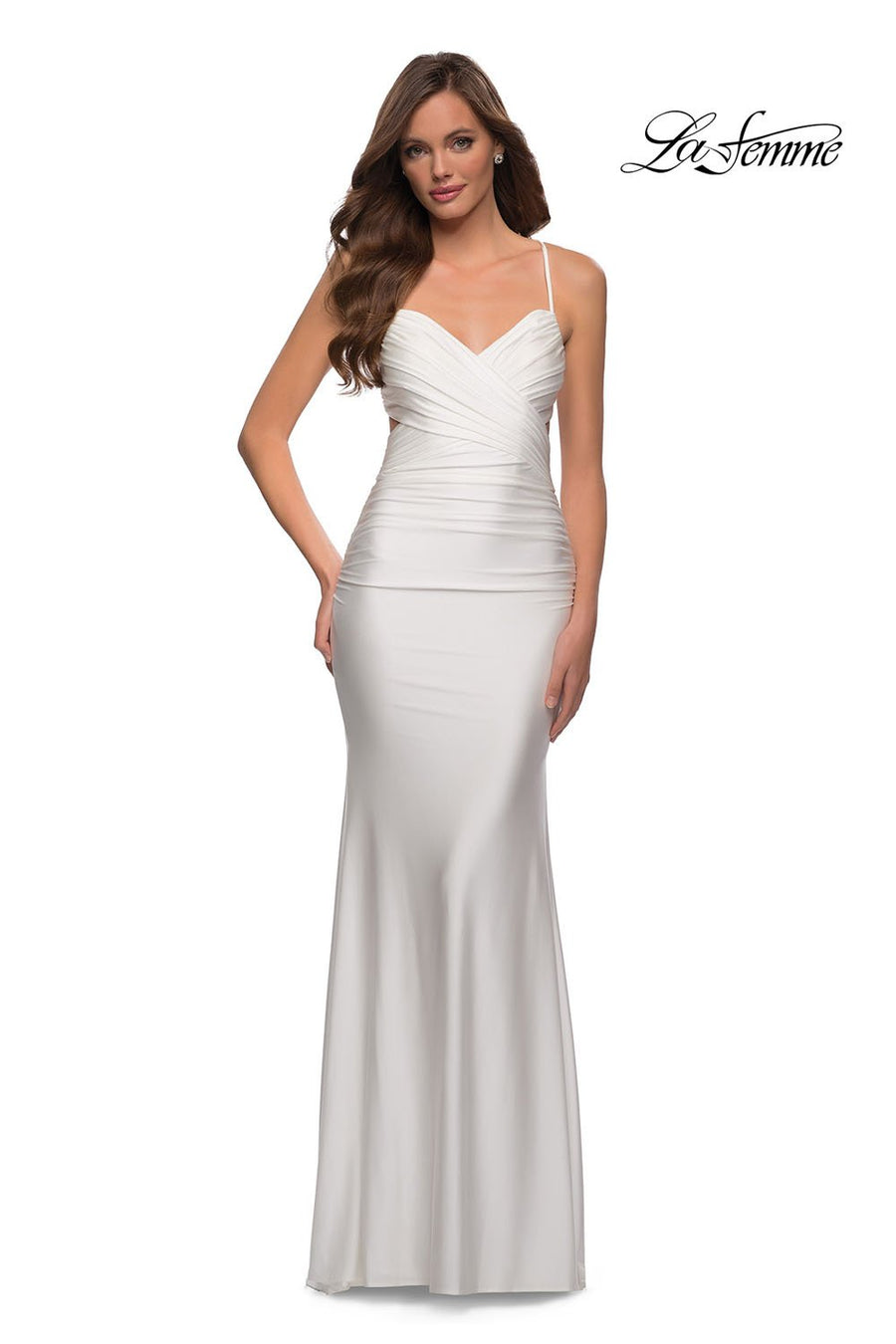 La Femme 29606 prom dress images.  La Femme 29606 is available in these colors: Dark Berry, Royal Blue, White.