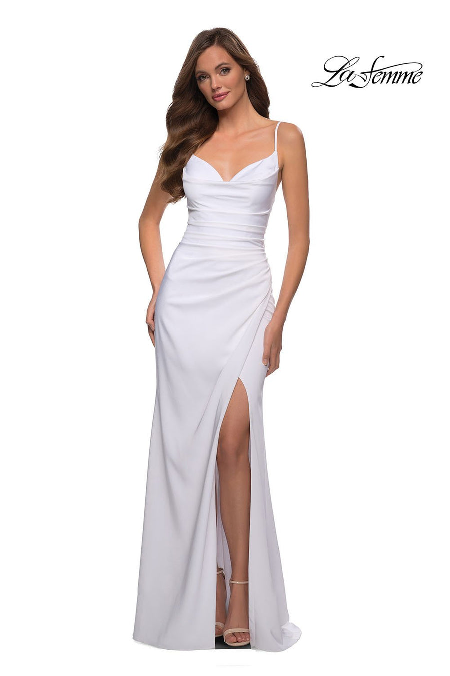 La Femme 29615 prom dress images.  La Femme 29615 is available in these colors: Black, Emerald, Royal Blue, White.