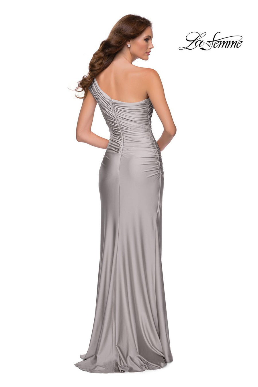 La Femme 29619 prom dress images.  La Femme 29619 is available in these colors: Black, Mauve, Navy, Silver.