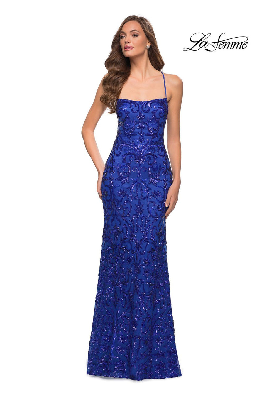 La Femme 29638 prom dress images.  La Femme 29638 is available in these colors: Black, Dark Emerald, Red, Royal Blue.