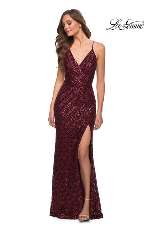 La Femme 29642 prom dress images.  La Femme 29642 is available in these colors: Black, Emerald, Wine.