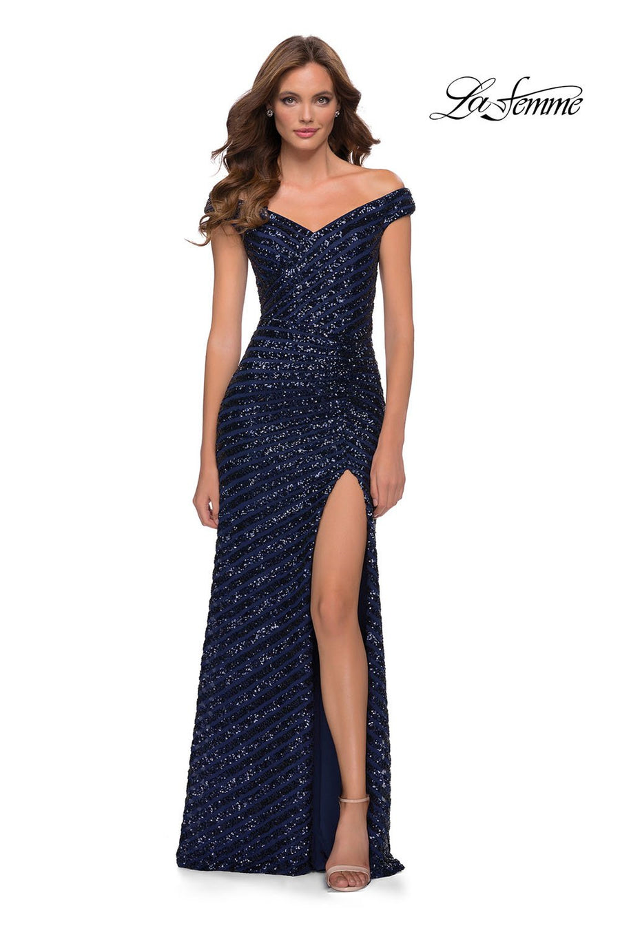 La Femme 29653 prom dress images.  La Femme 29653 is available in these colors: Navy.