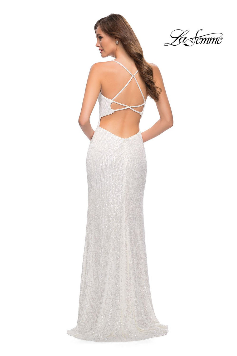 La Femme 29676 prom dress images.  La Femme 29676 is available in these colors: Cloud Blue, White.