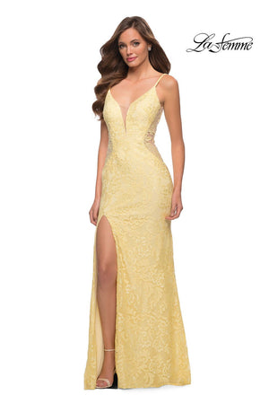 La Femme 29679 prom dress images.  La Femme 29679 is available in these colors: Dark Berry, Navy, Pale Yellow.