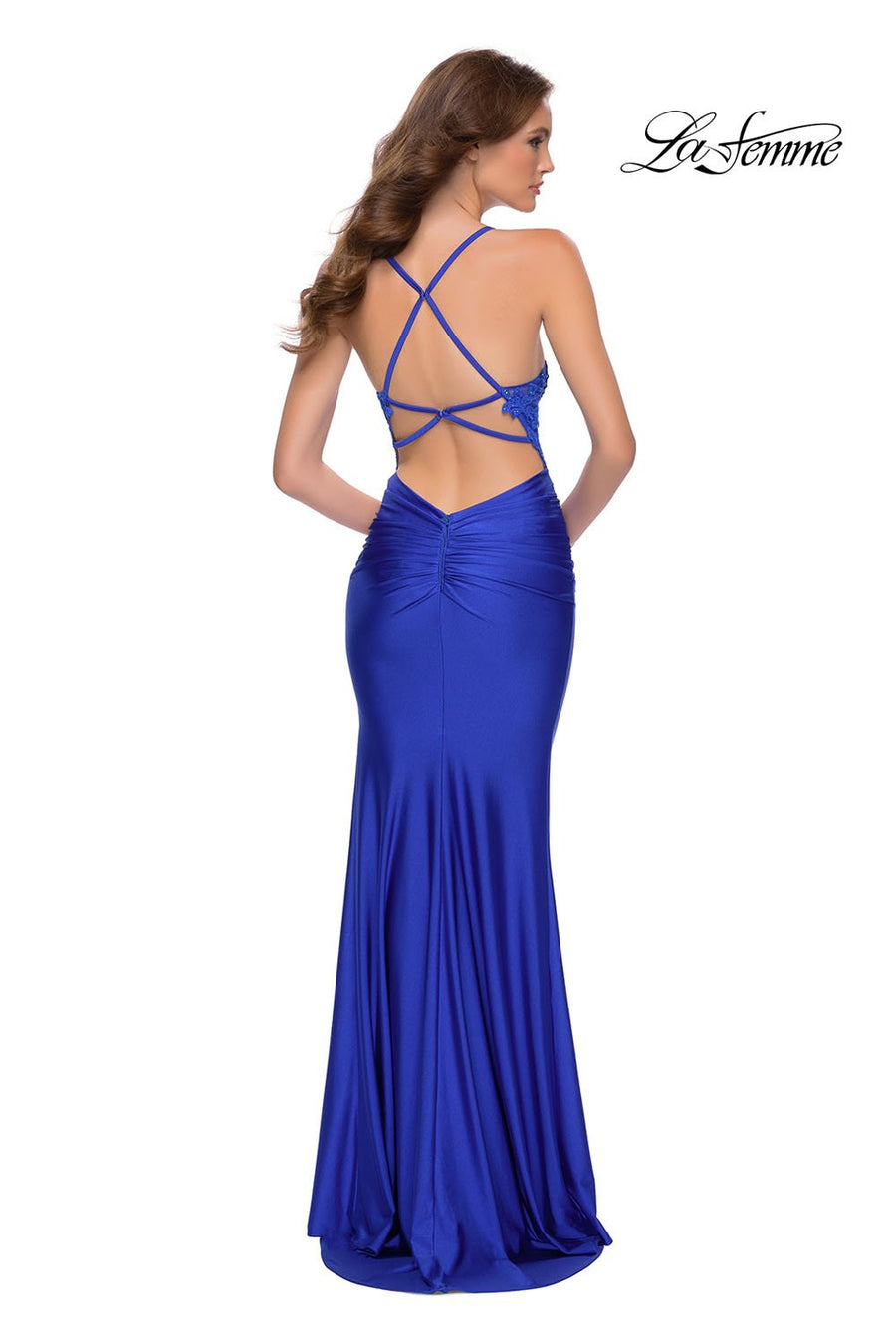 La Femme 29688 prom dress images.  La Femme 29688 is available in these colors: Pale Yellow, Royal Blue.