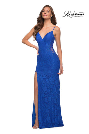 La Femme 29694 prom dress images.  La Femme 29694 is available in these colors: Black, Red, Royal Blue.