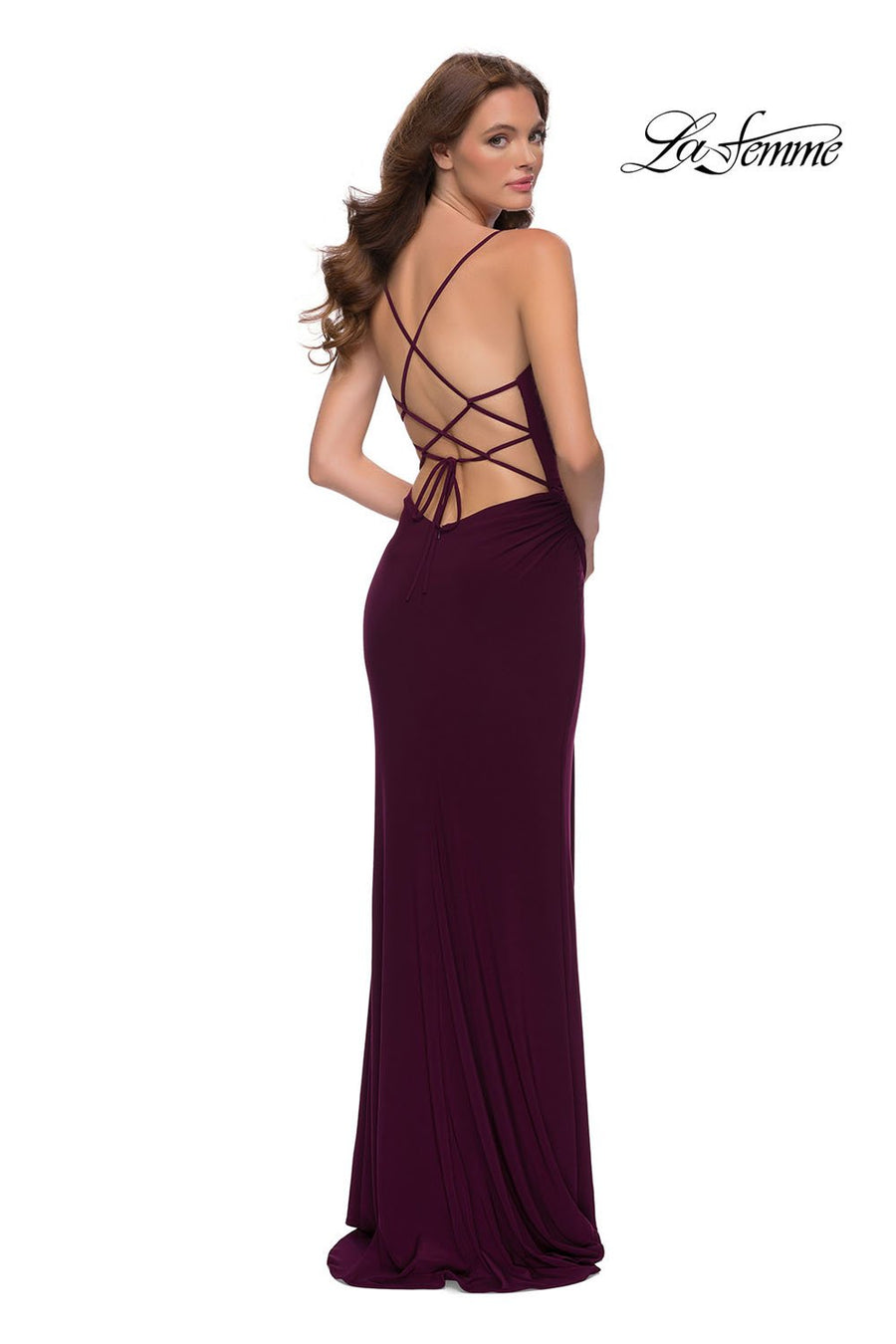 La Femme 29697 prom dress images.  La Femme 29697 is available in these colors: Dark Berry, Royal Blue.