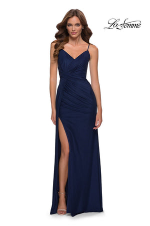 La Femme 29699 prom dress images.  La Femme 29699 is available in these colors: Navy.