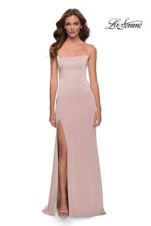 La Femme 29720 prom dress images.  La Femme 29720 is available in these colors: Cloud Blue, Nude.