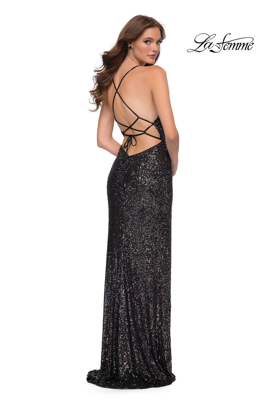 La Femme 29731 prom dress images.  La Femme 29731 is available in these colors: Gunmetal.