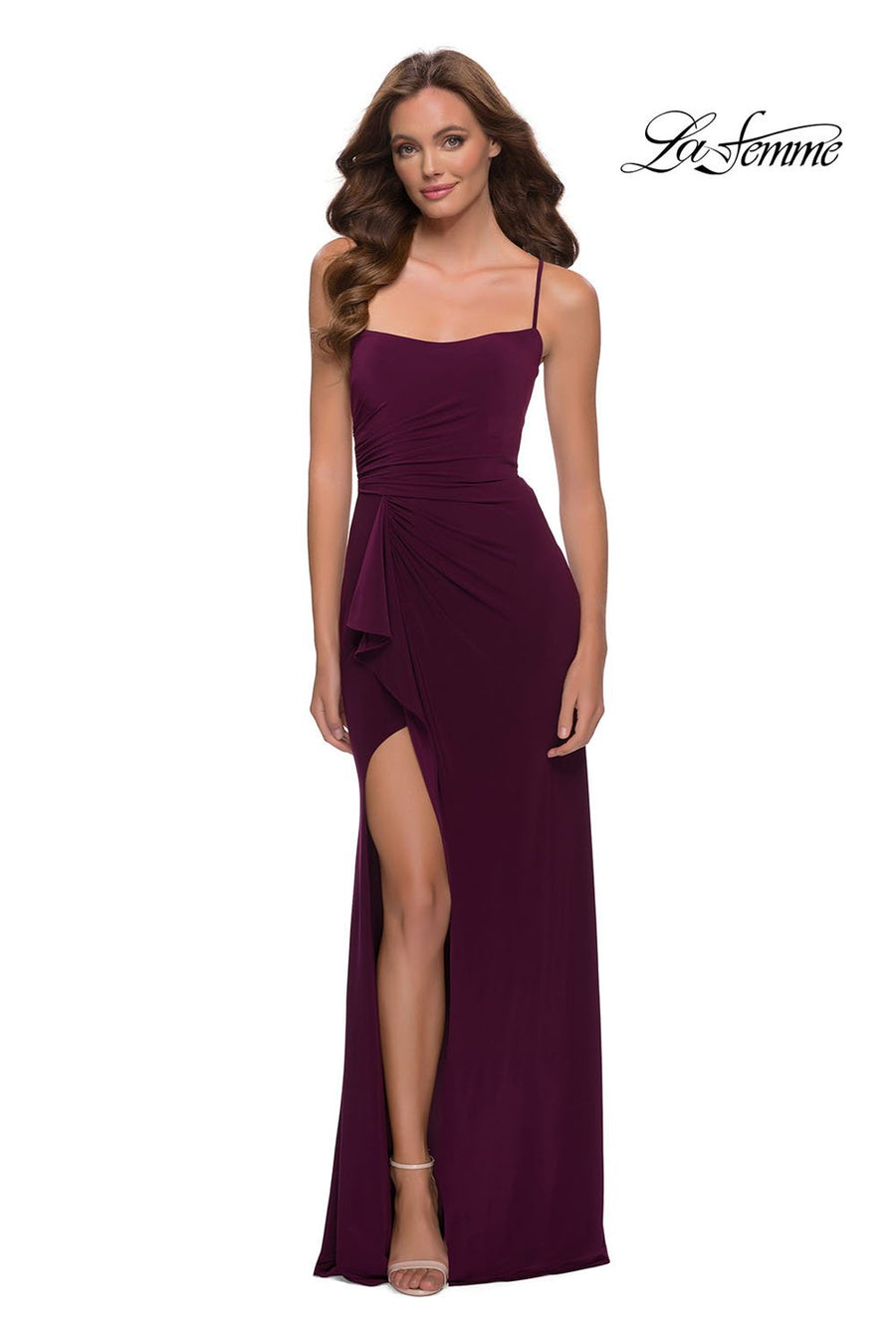 La Femme 29735 prom dress images.  La Femme 29735 is available in these colors: Dark Berry, Navy.