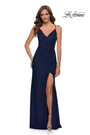 La Femme 29736 prom dress images.  La Femme 29736 is available in these colors: Navy.