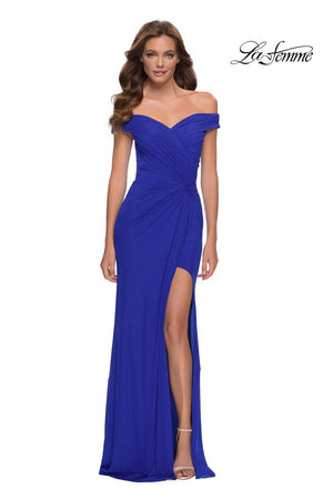 La Femme 29756 prom dress images.  La Femme 29756 is available in these colors: Black, Dark Emerald, Royal Blue.