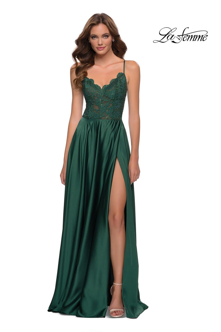 La Femme 29760 prom dress images.  La Femme 29760 is available in these colors: Emerald, Navy.