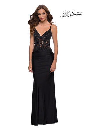 La Femme 29774 prom dress images.  La Femme 29774 is available in these colors: Black.