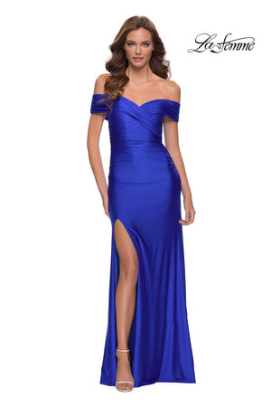 La Femme 29781 prom dress images.  La Femme 29781 is available in these colors: Black, Red, Royal Blue.