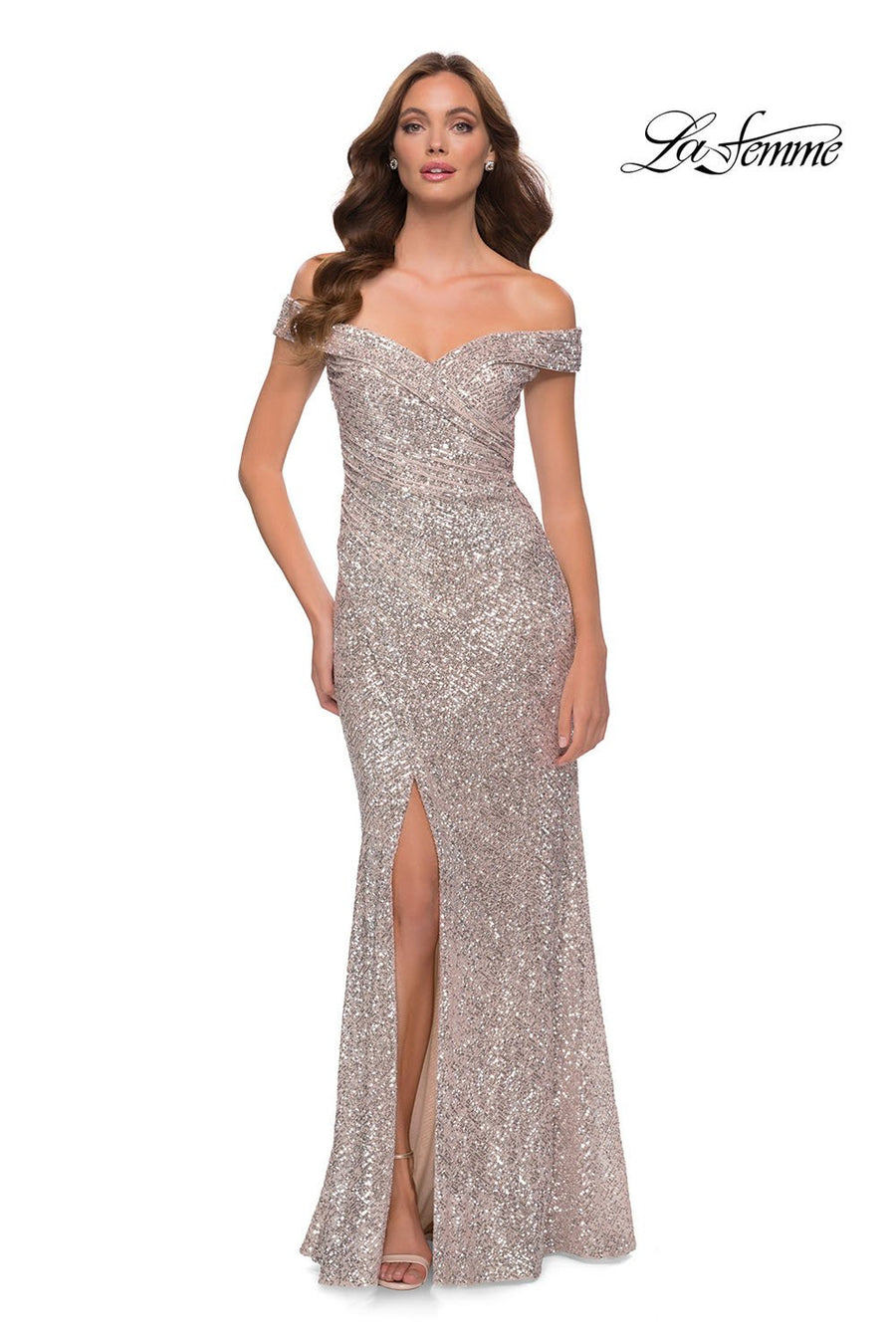La Femme 29831 prom dress images.  La Femme 29831 is available in these colors: Black, Navy, Rose Gold, Silver, White.