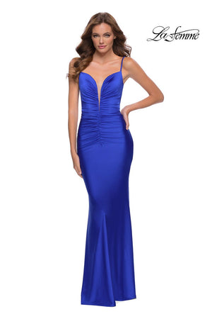La Femme 29834 prom dress images.  La Femme 29834 is available in these colors: Red, Royal Blue.