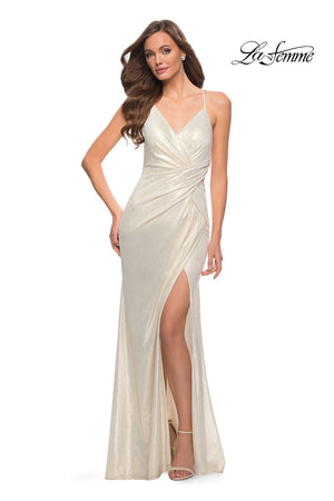 La Femme 29836 prom dress images.  La Femme 29836 is available in these colors: Black Gold, White Gold.