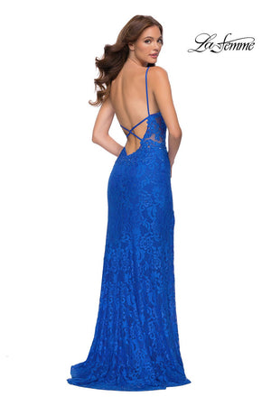 La Femme 29842 prom dress images.  La Femme 29842 is available in these colors: Pale Yellow, Royal Blue.