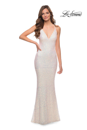La Femme 29862 prom dress images.  La Femme 29862 is available in these colors: Champagne.