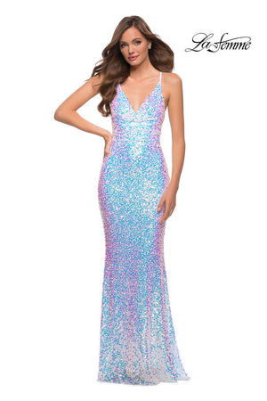 La Femme 29871 prom dress images.  La Femme 29871 is available in these colors: Light Blue, White.