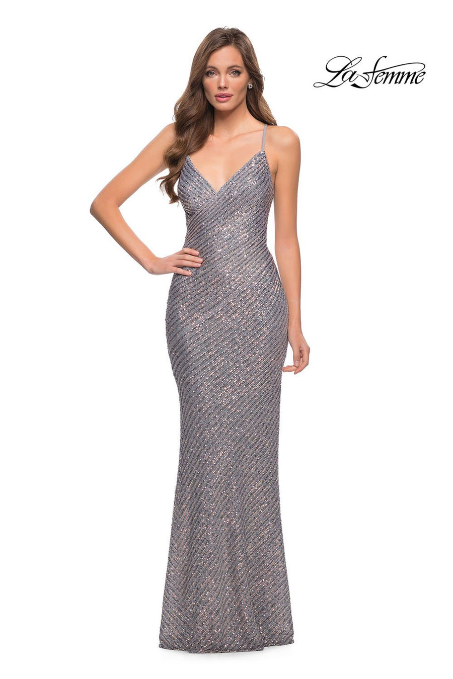 La Femme 29895 prom dress images.  La Femme 29895 is available in these colors: Silver.