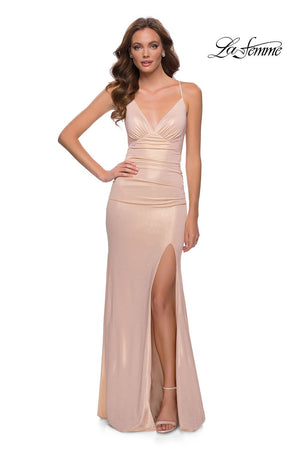La Femme 29915 prom dress images.  La Femme 29915 is available in these colors: Navy, Nude.