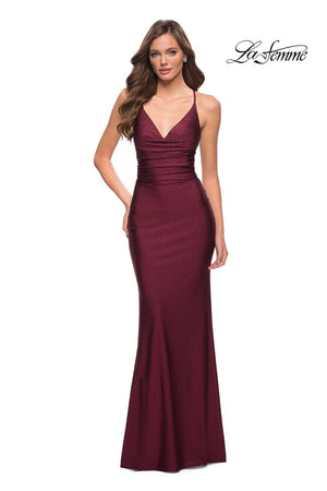 La Femme 29935 prom dress images.  La Femme 29935 is available in these colors: Black, Dark Berry.