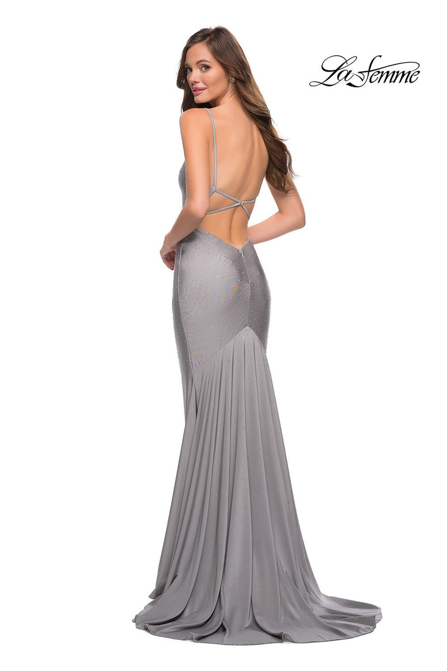 La Femme 29938 prom dress images.  La Femme 29938 is available in these colors: Navy, Silver.