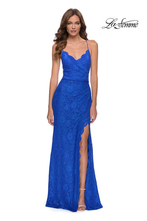 La Femme 29939 prom dress images.  La Femme 29939 is available in these colors: Ivory, Red, Royal Blue.